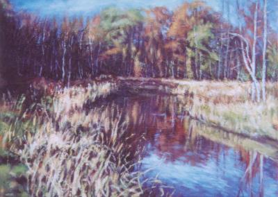 <li>Titre: Frissons d'automne</li><li>Médium: Huile sur toile montée sur carton</li><li>Dimension: 12 x 16</li><li> Collection privée</li></ul><p>