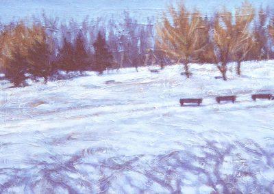<li>Titre: Ombres hivernales</li><li>Médium: Huile sur bois</li><li>Dimension: 10 x 20</li><li> Disponible</li></ul><p>