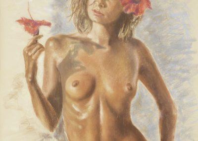 <li>Titre: Les fleurs du bien</li><li>Médium: Pastel</li><li>Dimension: 40 x 39 1/2 </li><li> Collection privée </li></ul><p>
